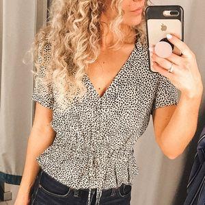 H&M Leopard Print Button Front Tie Cinched Top